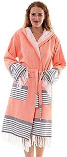 Bonamaison 连帽浴袍,棉,橙色,XL 码