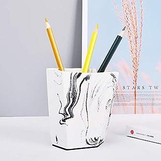 混凝土支架杯,适用于钢笔、铅笔、固定、干花布置、化妆工具 | 家庭和办公室使用 | 独特的手工墨水效果表面,采用多角度设计