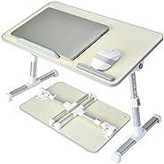 膝上桌,可調節筆記本電腦桌,適用于床,便攜式膝上桌,可折疊腿,便攜式站立床桌,適用于吃、工作、寫作、在床上繪畫電影或個人餐桌 - 灰色