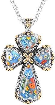 Shop LC Delivering Joy 多色 Murano Millefiori 玻璃黑色氧化不锈钢圣祈祷宗教时尚爱十字架吊坠项链 女式 50.8 厘米