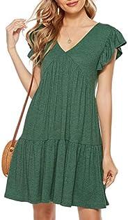 Lyrur 女式夏季 T 恤连衣裙 V 领荷叶边袖 Aline Swing 迷你分层休闲沙滩黑色背心裙