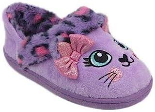 女孩卧室拖鞋洞洞鞋紫色豹猫一脚蹬鞋(数字_5)