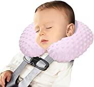 Neck Pillows 婴儿儿童旅行枕 充气头部支撑枕 可爱舒适 U 形颈枕 适用于汽车座椅飞机火车 柔软可洗下巴颈部支撑枕 适合幼儿男孩女孩(粉色)