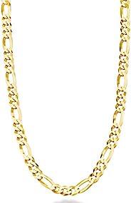 MiaBella 纯 18K 金纯银意大利 5mm 钻石切割费加罗链项链 适合女士男士,40.64 厘米,45.72 厘米,50.8 厘米,55.88 厘米,60.96 厘米,66.04 厘米,76.20 厘米
