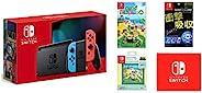 任天堂 Nintendo Switch主机 Joy-Con(L) 霓虹蓝/(R) 霓虹红(电池持续时间长的型号)&热闹 动物森林 -Switch&【任天堂许可商品】Nintendo Switch*卡袋24