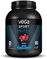 Vega 运动蛋白粉浆果(45份,66.6盎司/1.89千克) - 植物性素食蛋白粉,支链氨基酸,氨基酸,酸樱桃,非乳制品,酮类友好,不含麸质,(美国)国家科学基金会认证