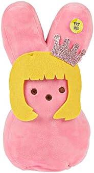 Peeps 复活节兔子毛绒玩具 12 英寸动画填充玩具蓝色粉色或黄色(粉色)