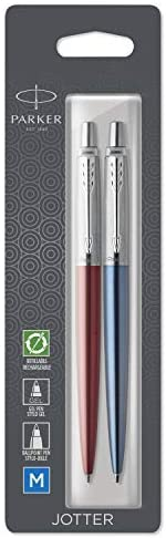 Parker 派克 Jotter London Duo Discovery 套装:红色肯辛顿圆珠笔,皇家蓝中性笔