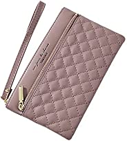 XINFAVOR 女式长款PU皮革钱包带腕,女士手拿包手提包收纳拉链可用于信用卡、硬币、现金 紫色 7.5×0.8×4.5 inch