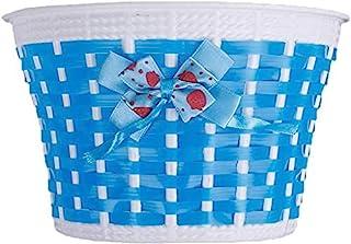 BYP_MFG_INC 儿童自行车篮,自行车塑料针织蝴蝶结前方手工包,女孩自行车篮(蓝色)
