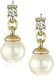 Anne Klein 女士白色珍珠光环耳坠