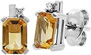 白金 9K 耳环真八边形 黄水晶 尺寸 6x4 毫米 钻石装饰 现代设计 适合女性 十一月诞生石
