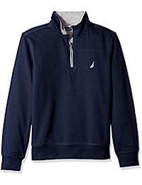 Nautica 男士 1/4 拉链拼接羊毛运动衫