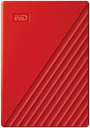 Western Digital 西部数据 WD 4TB My Passport 便携式外部硬盘驱动器,红色-WDBPKJ0040BRD-WESN