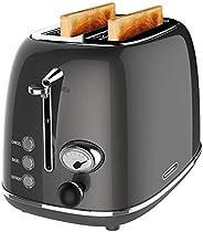 2 片烤面包機,Kitchen Mix 復古不銹鋼面包烤面包機,帶 6 種設置,1.5 英寸(約 3.8 厘米)超寬槽,百吉餅/除霜/取消功能,可拆卸面包屑(灰色)