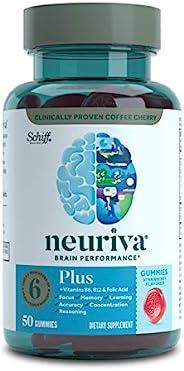 Neuriva Plus 草莓软糖,大脑支持补充剂(一瓶50粒),磷脂酰丝氨酸,B6,B12-支持专注力,学习能力,准确性,专心和推理能力