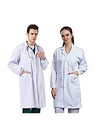 Vaborous 女式实验室外套带口袋中性款实验室外套男式专业,白色