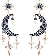 SWAROVSKI 符号月亮项链,黑色水晶密镶月亮和黑白水晶镶嵌星星饰品,金色镀链。