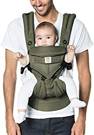 Ergobaby Baby Carrier for Newborn up to 3 Years, 360 Cool Air Khaki Green, 4 Ergonomic Carry Positions Front B