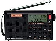 SIHUADON R-108 FM 立体声 LW MW SW AIR Band DSP 全频便携式收音机带耳机插孔和天线插孔,*计时器和闹钟,500 个*预设站(黑色)