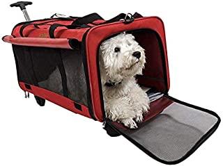 GEARDO 大尺寸可拆卸背带适用于宠物旅行 24.8 英寸 X 15.7 英寸 x 16.9 英寸轮式婴儿车可处理 2-3 只猫或中型犬(红色)