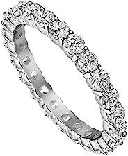 michooyel 白金镀金钻石永恒戒指结婚戒指 标准纯银戒指 女式