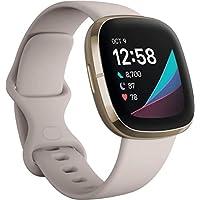 Fitbit Sense 高级智能手表,带心脏*、压力管理和皮肤温度趋势工具,内置Alexa,白色/金色,均码(含S&L表带)