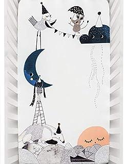 Rookie Humans * 纯棉棉缎床笠:月亮的生日。现代育儿室,可用作婴儿照片背景。标准婴儿床尺寸(132.08 x 71.12 厘米)(标准棉缎)