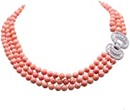 三串粉色珊瑚项链 8-8.5 毫米手工珊瑚珠项链 带精致锆石扣 20 英寸(约 50.8 厘米)