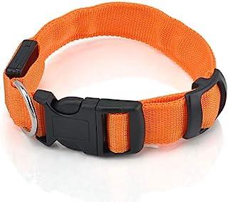 LED PET 发光领狗猫夜用*绳可调节*带闪光灯 橙色 大