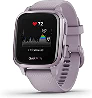 Garmin Venu Sq GPS Smart Watch 具有全天健康监测和健身功能,内置体育应用程序等,兰花与金属兰花边框