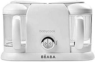 BÉABA – Babycook Duo – 4合1婴儿辅食机 – 温和蒸锅 – 15分钟快速蒸锅 – XXL 容量:2x200毫升 – 白色/银色
