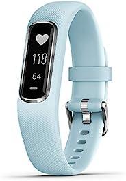 Garmin 佳明 vívosmart 4 運動健身追蹤器 w/ 脈搏氧氣和心率監測器010-01995-14  0.75 inches Silver w/ Azure Blue Band