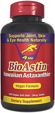 BioAstin 夏威夷虾青素,素食主义者-4毫克,120粒-夏威夷生长的优质抗氧化剂-自然支持从运动+关节,皮肤,眼部问题中恢复