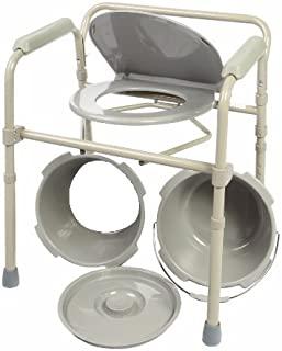Healthline Trading Commode 椅子折叠床边 Commode 座椅,带 Commode 桶和防溅板