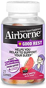 Schiff 旭福 Airborne 维生素C 750mg/片+ L-茶氨酸&维生素B Airborne + Good Rest 浆果软糖 2