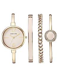 ANNE KLEIN 女士施华洛世奇水晶手表和手镯套装,Gold/Pink,AK/3290LPST