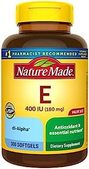 Nature Made 天维美 维他命E 180毫克(400 IU)dl-阿尔法软胶囊,300粒,包含抗氧化剂支持(包装可能会有所不同)