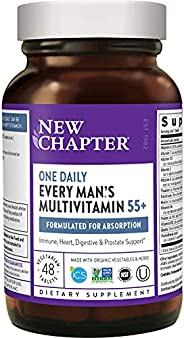 New Chapter 50岁以上男性复合维生素+抵抗能力支持,每日一粒,含发酵益生元+天然食品+虾青素+Non GMO成分,薄荷,48粒