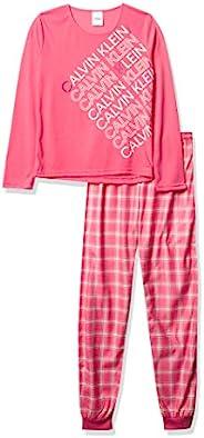 Calvin Klein 女童睡衣长袖 T 恤和慢跑格子睡衣套装