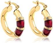 AMA 18k 黄金镀金环状耳环,酒色珐琅 - 意大利扣环,无镍,低致敏性时尚首饰 - 红色点缀 Huggie 环 - 7 毫米厚,20 毫米直径
