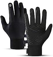 XinDong 跑步手套,保暖冬季手套,轻质触摸屏手套,防滑防水骑行手套,男女适用