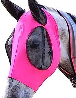 Vesidurt 可调节飞翔面罩 适用于马,舒适柔软,适用,带耳朵(粉色)