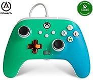 PowerA 增强有线控制器 适用于 Xbox - Seafoam 褪色、游戏手柄 有线视频游戏控制器、游戏控制器、Xbox 系列 X|S、Xbox One - Xbox 系列 X