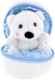 Plushland 雪球填充拉链动物可爱毛绒动物分类软玩具适合女朋友、家人和朋友(新北极熊)