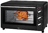 Clatronic 多功能烤箱 MBG 3728 30 升烤箱 空氣循環 + 頂部和底部加熱 90 分鐘定時器 帶結束信號 黑色