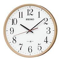 Seiko 精工 挂钟 淡茶色木质地 主体尺寸:直径30.9×5.2cm 卫星 电波 模拟 Space Link GP220A
