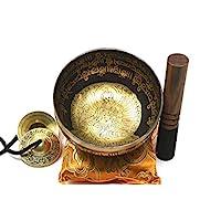 25.4 厘米*冥想 Mantra 雕刻 G 音符唱歌碗,蚀刻西藏艺术,手工锤锻唱歌碗带丝垫、歌手和歌手