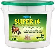 Farnam Super 14 马*皮肤和外套补充剂,保持外套闪亮和闪闪发光,全年 5 磅,80 天用量