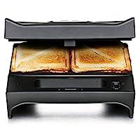 ROMMELSBACHER SWG 700 三合一多吐司和燒烤麥(桑威烤盤,比利時華夫餅,接觸烤,3個可更換鋁壓鑄板,2 層不粘涂層)黑色/不銹鋼